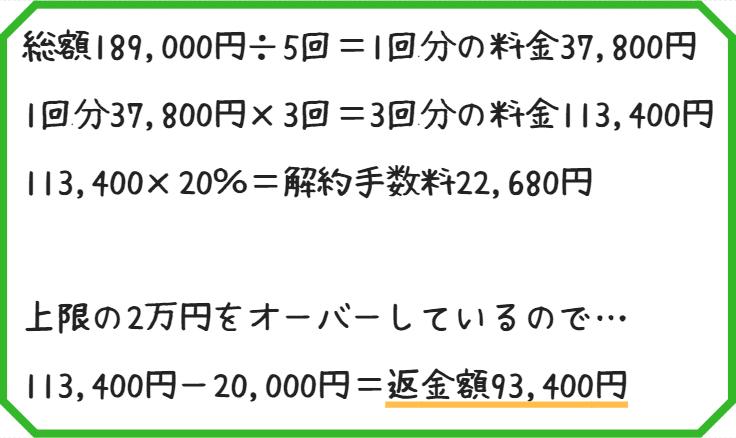 レジーナクリニック解約返金計算式