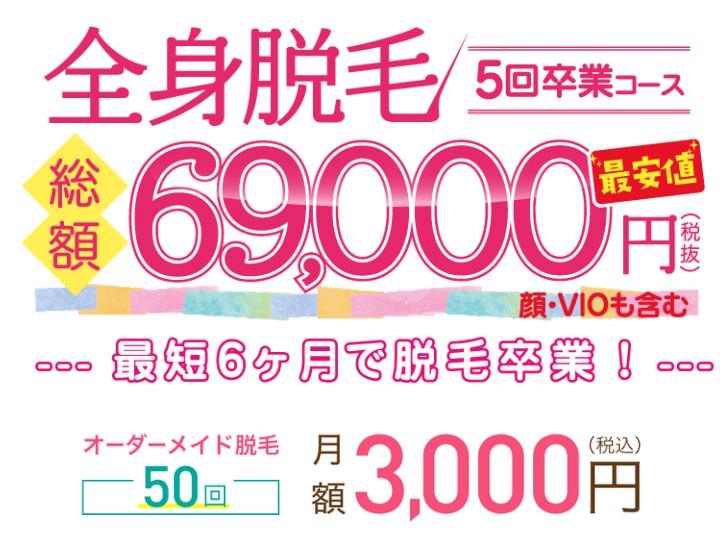 ラココ全身脱毛総額69,000円