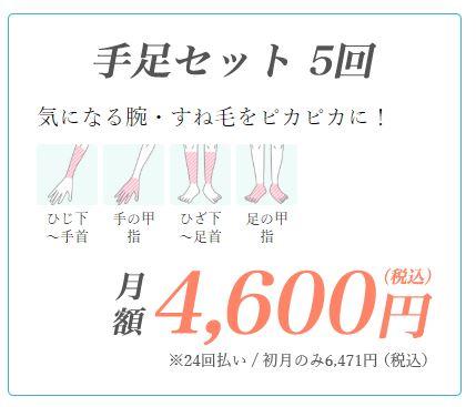東京中央美容外科手足セット脱毛の料金
