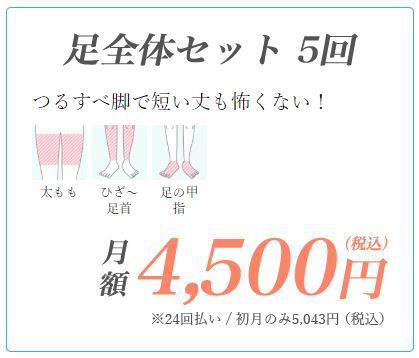 東京中央美容外科腕全体セット脱毛の料金