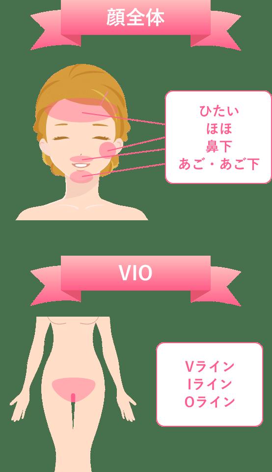 ブランクリニックVIOと顔脱毛の範囲
