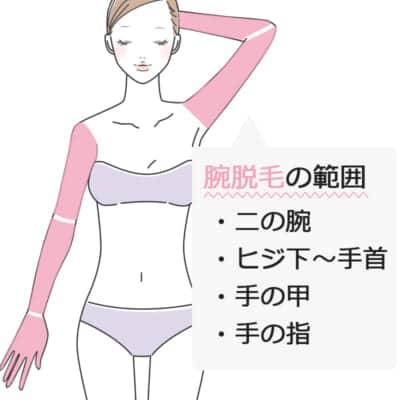 腕脱毛の範囲と施術時間